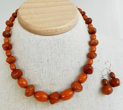 Vtg Bakelite Amber MixedBead Choker Necklace Earrings Set Oval Nugget Graduated