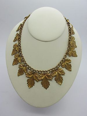 "Antique Victorian 15"" Brass Gold Plated Collar Necklace with Dangling Leaves"