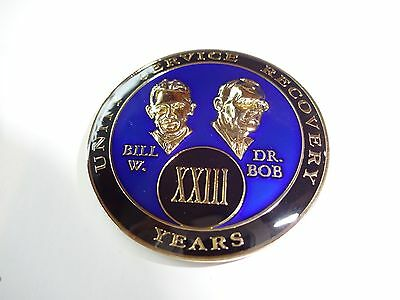 AA Bill&Bob Blue Gold 23 Year Coin Tri-Plate Alcoholics Anonymous Medallion Chip