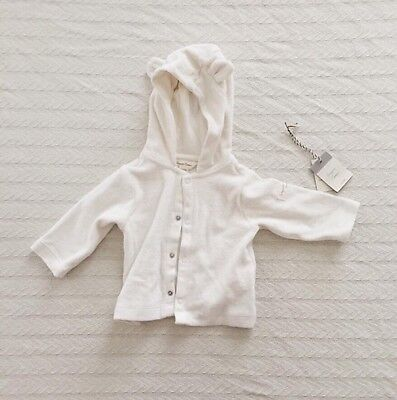 NWT Baby Gap Organic Cotton Ivory Terry Hoodie 0-3 Months