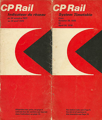Cp Rail 0Ctober 1975 System Timetable