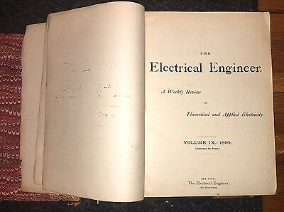 Rare Antique 1890 The Electrical Engineer A Weekly Review Book Volume IX X