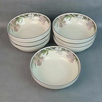 "7pc Sango China ""Evening Song"" Pattern # 3706 Soup Cereal Bowls"