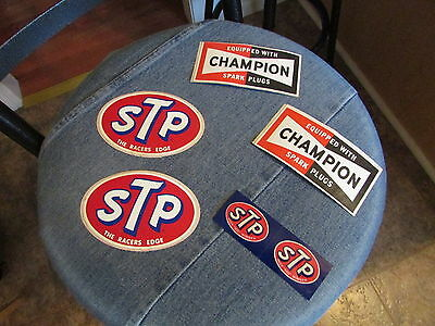 Vintage 1970s Lot of 5 Total STP & CHAMPION Spark Plug DECALS/Stickers NICE !!!