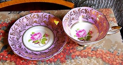 Royal Standard Tea Cup and Saucer, Lavender w/fancy gold and pink roses, bone ch