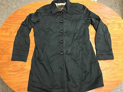 Womens Authentic Coach Black Button Up Trench Rain Coat Jacket Size Large