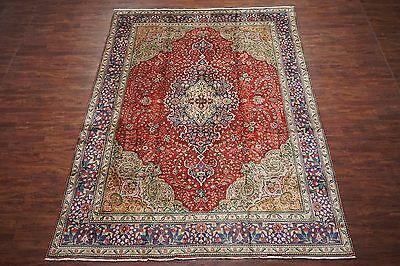 10'X13' Persian Tabriz Antique Hand-Knotted Wool Area Rug Oriental 1940's Carpet