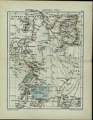 Egypt Nile River Region Abyssinia North Africa antique 1882 detailed color map