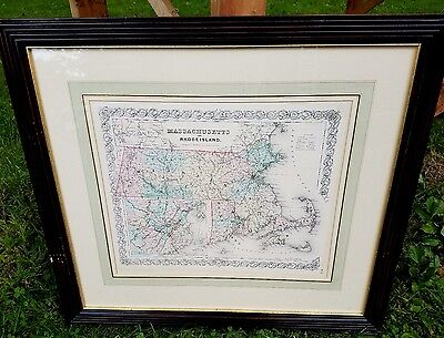 1855 COLTON Antique map MASSACHUSETTS,Rhode Island Credit Suisse Collection