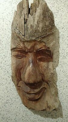 Tree spirit gnome smiling face hand carved wood wall hanging