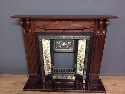 Cast Iron Tiled Fire Insert With Surround And Hearth