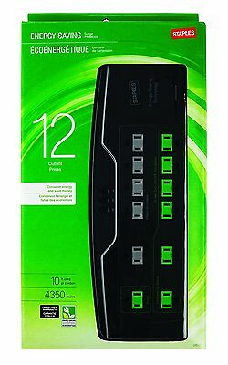 Staples® 12-Outlet 4350 Joule EcoEasy Surge Protector with Dataline Protection