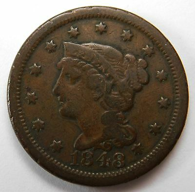 1848 Braded Hair Large Cent VF Nice Brown Color 54
