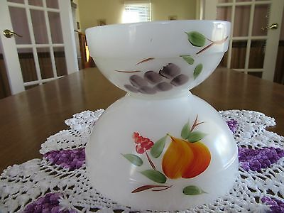 Vtg Pair Fire King Gay Fad Nesting Mixing Bowls - Hand Painted Cherries Grapes