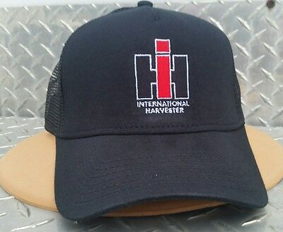 International Harvester Ih All Black Mesh Embroidered Trucker Logo Hat Cap New