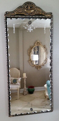Antique Ornate Wall Mirror Pie Crust Edge Gesso Wood 19th Century Shabby