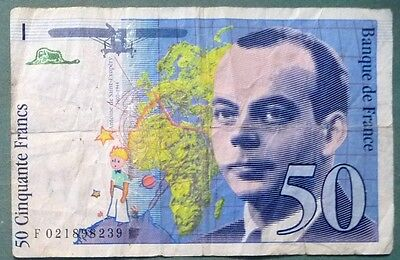 FRANCE 50 FRANCS NOTE FROM 1994 , P 157A a, SAINT- EXUPERY, UNDERLINES