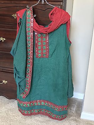 Indian Bollywood Patiala Salwar Kameez Suit Green And Red Fully Stitched