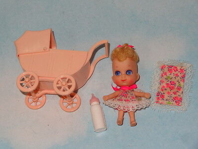 RARE 1967 Liddle Kiddles Sears Exclusive Baby Liddle Dressed Doll & Carriage+ #2