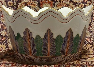 "Mottahedeh Charleston Feathers Large 10.75"" Cache Pot Cachepot"