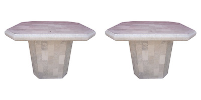 Pair Tessellated Fossil Stone Tile End Tables Mid Century Modern Maitland Style