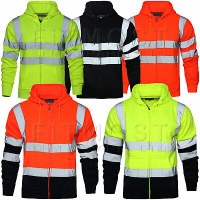Hi Viz Vis High Visibility Jacket Hoodie Work Zip Hooded SweatShirt Fleece SMLXL