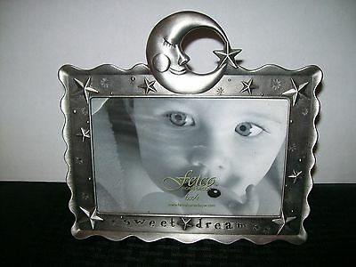 "Sweet Dreams 6"" x 4"" Fetco Brushed Metal Photo Frame Moon and Stars"