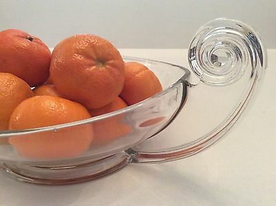 Pure DECO Classic Vintage Modern Fostoria Centerpiece Bowl With Scroll Handles