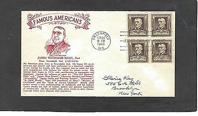 #868 10c JAMES W RILEY FDC-GREENFIELD,MASS FEB 24-1940-CROSBY CACHET