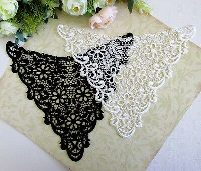 Exquisite Black / Milky White collar venise lace neckline sewing applique