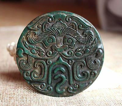 Chinese ancient old hard jade hand-carved pendant necklace ~token