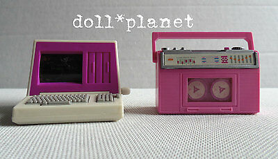 BARBIE DOLL Mattel Wind Up PERSONAL COMPUTER & TAPE PLAYER works pink HTF