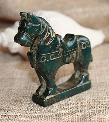 Chinese ancient old hard jade hand-carved pendant necklace ~Horse