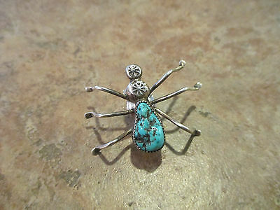 LARGE Vintage Navajo Sterling Silver Turquoise SPIDER BUG Pin