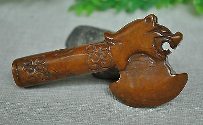 Chinese ancient old hard jade hand-carved pendant necklace ~hatchet;