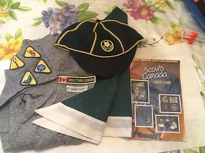 Lot Of 3 WOLF Scout Uniform SHIRT, Neckerchief, HAT and old catalogue  lot 4