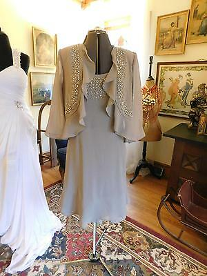 Stunning Taupe Mother Of The Bride Or Groom Or Special Occasion 2-Piece Dress 10