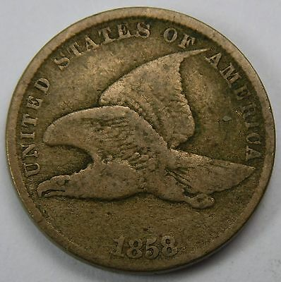 1858 SL Small LETTERS FLYING EAGLE CENT F VF NICE EVEN COLOR SOLID STIKE 360