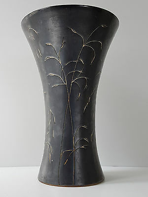 Beautiful Vase Diabolo 50's Ceramic Black Mother Of Pearl Decorated With Reeds