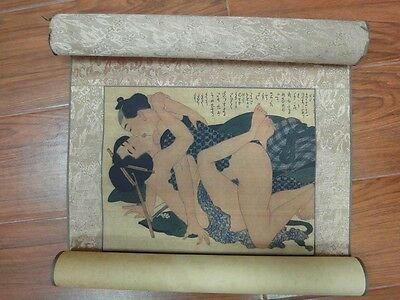 Very Long Rare Old Japanese Artworks Scroll Hand Painting Erotic People QA123
