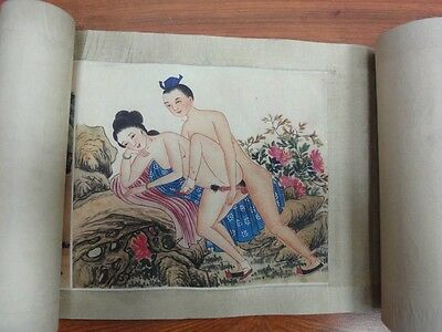 "Very Long Old Chinese Scroll Painting Erotic Drawing ""ChunGongTu"" QA120"