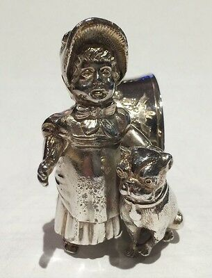 Antique Silverplate Figural Napkin Ring Kate Greenaway Girl with Pug Dog
