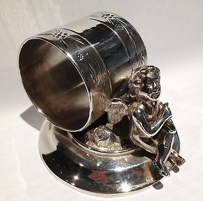 Antique Silverplate Figural Napkin Ring Winged Cherub
