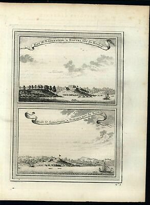 Fort St Sebastian African Coast Colonialism c.1757 antique engraved print