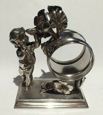 Antique Silverplate Figural Napkin Ring Cherub with Horn Simpson, Hall...