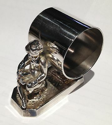 Antique Silverplate Figural Napkin Ring Girl Reading Book Simpson Hall Miller