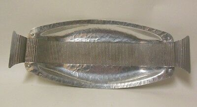 Vtg Art Deco Moderne Aluminum Tray Continental Hand wrought Hammered Corduroy