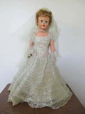 """Large Vintage Doll - BRIDE - 28"""" Tall - Rubber Body - 251 - A-E"""
