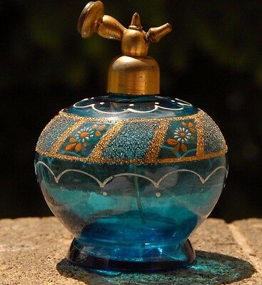 Antique Vintage Bohemian Czech Aqua Blue  Glass PERFUME ATOMIZER Bottle