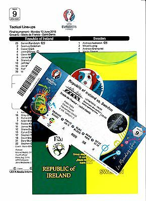 EURO 2016, REPUBLIC OF IRELAND v SWEDEN_Programme (unofficial)+ticket+teamsheet!